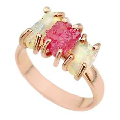 3 stone ruby ethiopian opal raw 925 silver 14k rose gold ring size 7 t51201