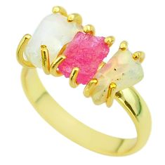 3 stone ruby raw ethiopian opal rough silver 14k gold ring size 9 t51235
