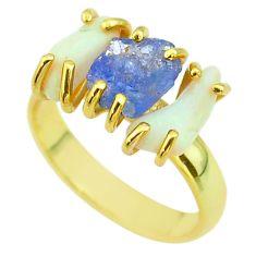 3 stone tanzanite ethiopian opal raw 925 silver 14k gold ring size 7 t51238