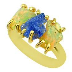 3 stone tanzanite ethiopian opal raw 925 silver 14k gold ring size 7 t51251