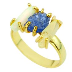 3 stone tanzanite ethiopian opal raw 925 silver 14k gold ring size 9 t51236