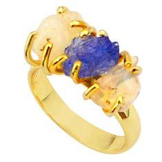 9.27cts 3 stone tanzanite ethiopian opal raw 14k gold ring size 7 t37968