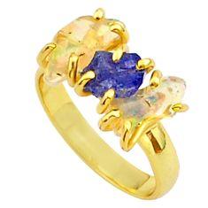 8.56cts 3 stone tanzanite ethiopian opal raw 14k gold ring size 8 t37942