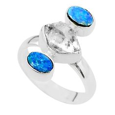 3 stone white herkimer diamond doublet opal australian silver ring size 7 t49877