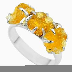 7.66cts 3 stone yellow citrine raw 925 sterling silver ring size 7 t52285