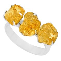 10.30cts 3 stone yellow citrine raw 925 sterling silver ring size 8 t7118