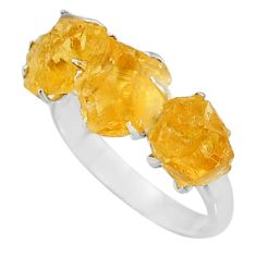 10.19cts 3 stone yellow citrine raw 925 sterling silver ring size 9 t7120