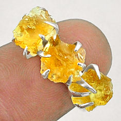 7.17cts 3 stone yellow citrine raw fancy sterling silver ring size 7 t51487