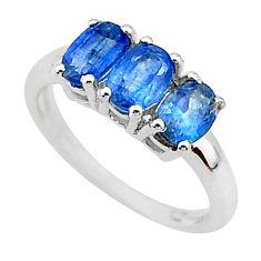 2.72cts 3 stonenatural blue kyanite 925 sterling silver ring size 6 t14785