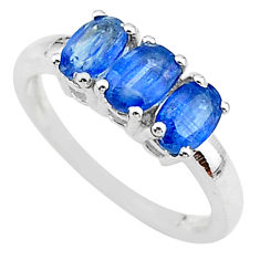 2.96cts 3 stonenatural blue kyanite 925 sterling silver ring size 7 t14782