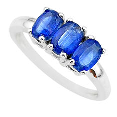 3.18cts 3 stonenatural blue kyanite 925 sterling silver ring size 8 t14783