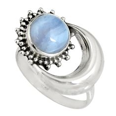 3.42ct natural blue lace agate 925 silver solitaire half moon ring size 7 r19552