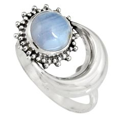 3.45ct natural blue lace agate 925 silver solitaire half moon ring size 8 r19553