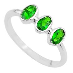 2.16cts 3stone natural green tourmaline 925 silver ring size 7 t33104