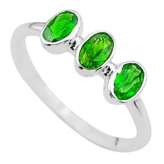 2.13cts 3stone natural green tourmaline oval 925 silver ring size 7 t33105