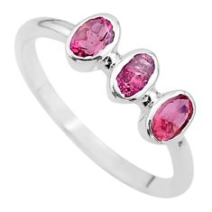 2.37cts 3stone natural pink tourmaline oval 925 silver ring size 7.5 t33100