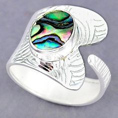4.26ct natural abalone paua seashell 925 silver adjustable ring size 10.5 r90517