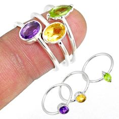 4.91ct amethyst peridot citrine stackable sterling silver 3 ring size 6 r59897