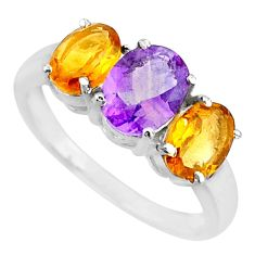 4.91ct natural amethyst citrine 925 sterling silver 3 stone ring size 7.5 r71285