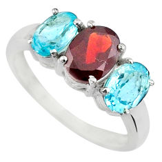 5.21ct 3 stone red garnet topaz 925 sterling silver 3 stone ring size 7.5 r71299