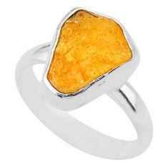 5.75ct solitaire natural yellow tourmaline raw fancy silver ring size 7 t33533