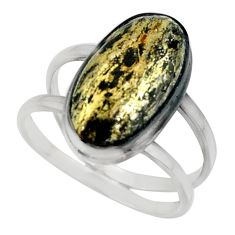 6.64ct golden pyrite in magnetite healer's gold 925 silver ring size 8.5 r42238