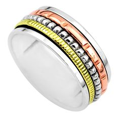 6.68gm meditation 925 sterling silver two tone spinner band ring size 10.5 t5656