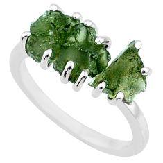 7.87ct natural green moldavite (genuine czech) 3 stone silver ring size 7 r71979