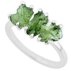 7.98ct natural green moldavite (genuine czech) 3 stone silver ring size 8 r71968