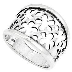 4.89gms indonesian bali style solid 925 silver plain ring size 1 6/8 c25863