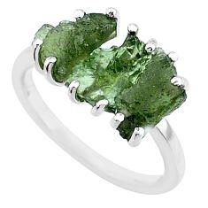 8.00ct natural moldavite (genuine czech) 3 stone 925 silver ring size 7.5 r71947
