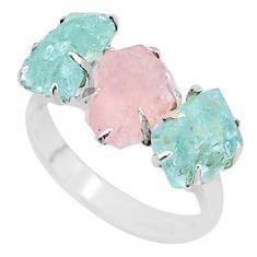 8.56ct natural rose quartz aquamarine raw 925 silver 3 stone ring size 8 t7154