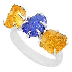 8.87ct natural blue tanzanite citrine raw 925 silver 3 stone ring size 7 t7113
