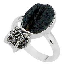 9.18ct natural black tektite campo del cielo meteorite silver ring size 9 t14211