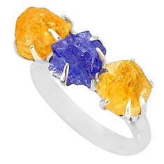 9.35ct natural blue tanzanite citrine raw 925 silver 3 stone ring size 8 t7110