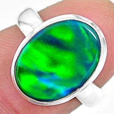 925 silver 4.28cts (lab) northern lights aurora opal oval ring size 6 t23416