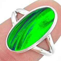 925 silver 4.28cts (lab) northern lights aurora opal oval ring size 6 t23433