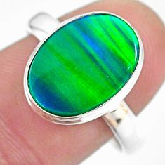 925 silver 4.21cts (lab) northern lights aurora opal oval ring size 9 t23413