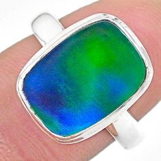 925 silver 4.42cts (lab) northern lights aurora opal handmade ring size 8 t23430