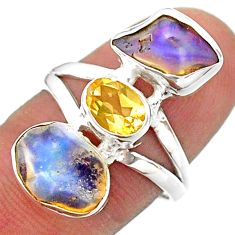 925 silver 10.31cts 3 stone ethiopian opal raw citrine ring size 8 t41095