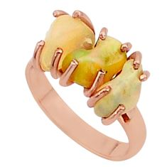 8.00cts 3 stone ethiopian opal raw 14k rose gold ring size 7 t38031