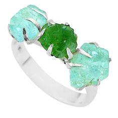 925 silver 9.37cts 3 stone green emerald aquamarine raw ring size 8 t52283