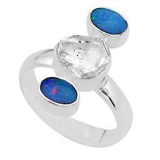 925 silver 3 stone herkimer diamond doublet opal australian ring size 7 t49894
