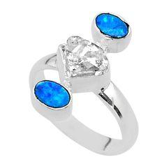925 silver 3 stone herkimer diamond doublet opal australian ring size 8 t49878