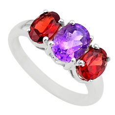 925 silver 7.33cts 3 stone natural amethyst oval red garnet ring size 8 t43245
