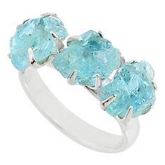 925 silver 8.56cts 3 stone natural aqua aquamarine raw ring size 7 t7086