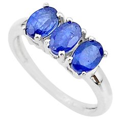 925 silver 3.42cts 3 stone natural blue sapphire oval ring size 7 t18270