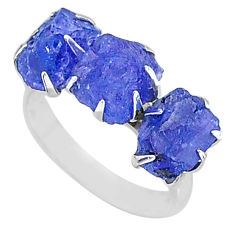 925 silver 10.23cts 3 stone natural blue tanzanite raw ring size 7 t7105