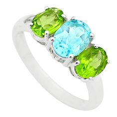 925 silver 6.51cts 3 stone natural blue topaz green peridot ring size 9 t43232