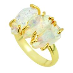 925 silver 9.33cts 3 stone natural ethiopian opal raw gold ring size 8 t51220
